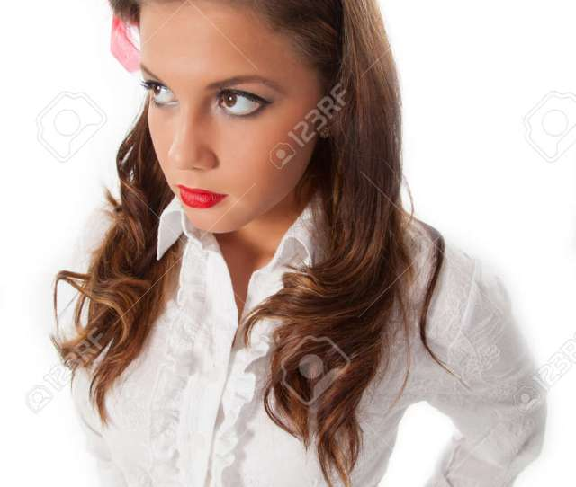 Sexy Pin Up Teenage Girl With Red Feather In Her Hair Stock Photo 15756592