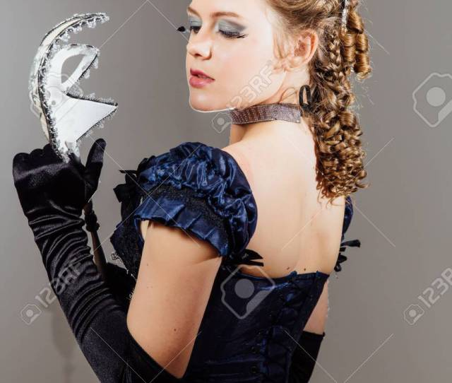 Girl In Vintage Blue Dress With Mask In Hands Actress In The Role Actors