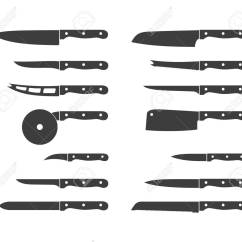 Sharp Kitchen Knives Restaurant Tables Set Of Steel Icons Carving Paring And Utility Tool Cooking Equipment