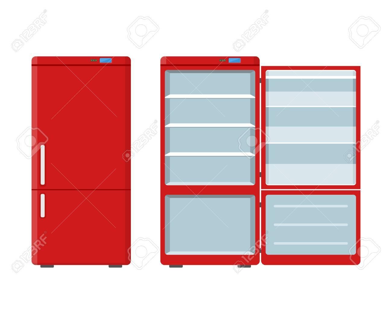 Frigo électroménager Rouge Ouvert Et Fermé Isolé Sur Fond Blanc  Réfrigérateur électronique Illustration Vectorielle De L Appareil Ménager 591f512135fd