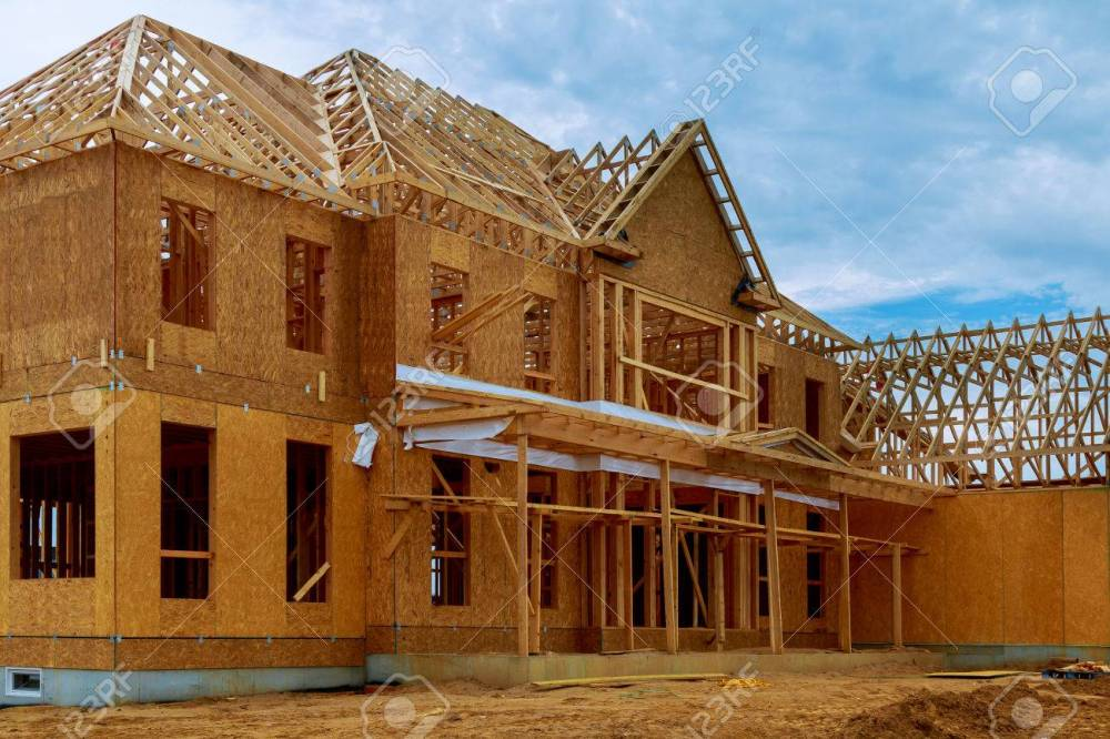medium resolution of framed building or residential home with basic electrical wiring and hvac complete stock photo