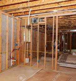stock photo the frame building or a house with basic electrical wiring [ 1300 x 866 Pixel ]