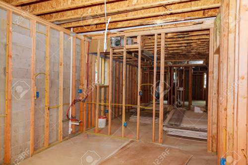 small resolution of stock photo the frame building or a house with basic electrical wiring