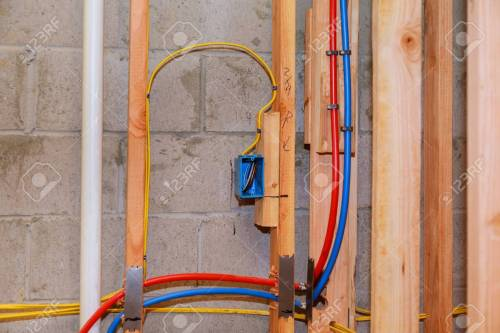 small resolution of stock photo the frame building unfinished wood frame building with basic electrical wiring