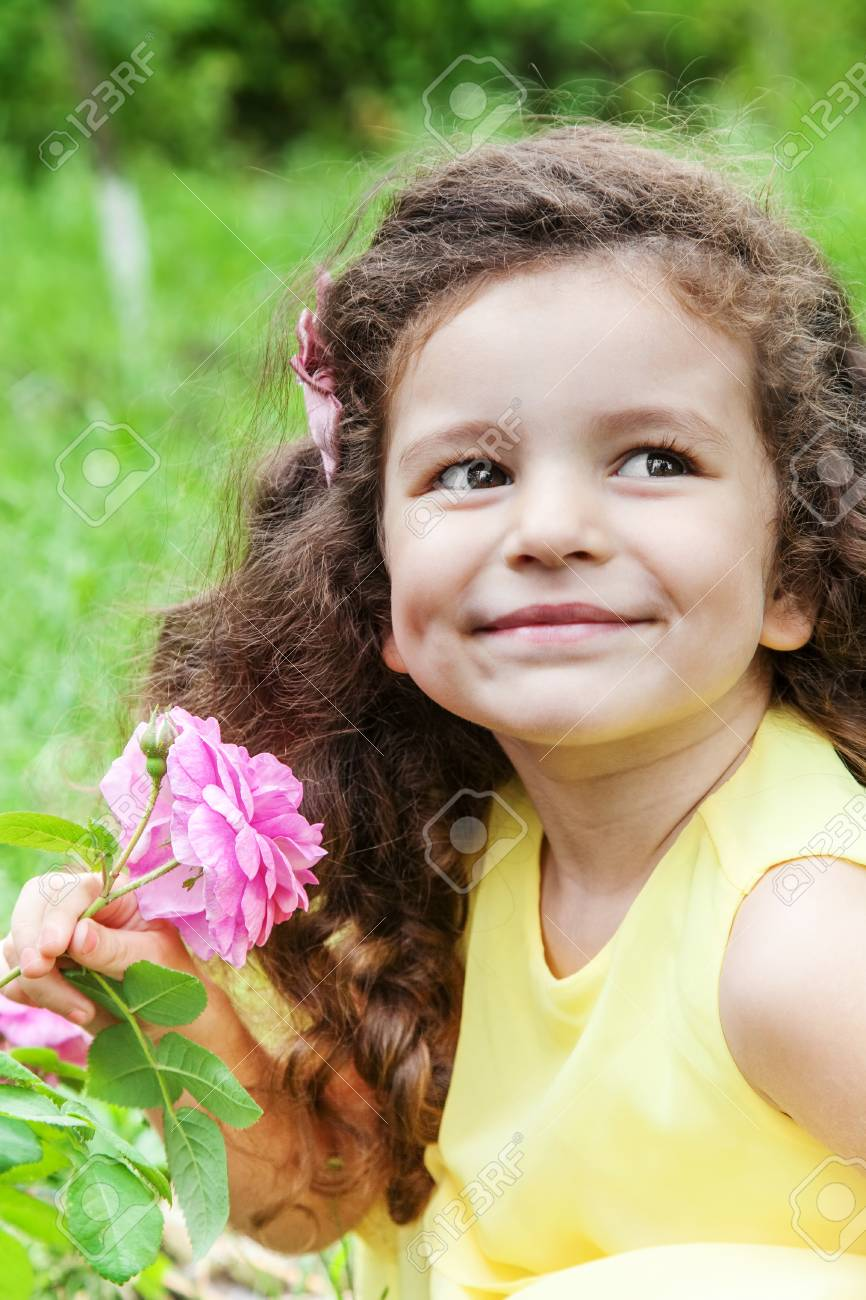 Cute Baby With Rose : Flower, Outdoors, Stock, Photo,, Picture, Royalty, Image., Image, 99117316.