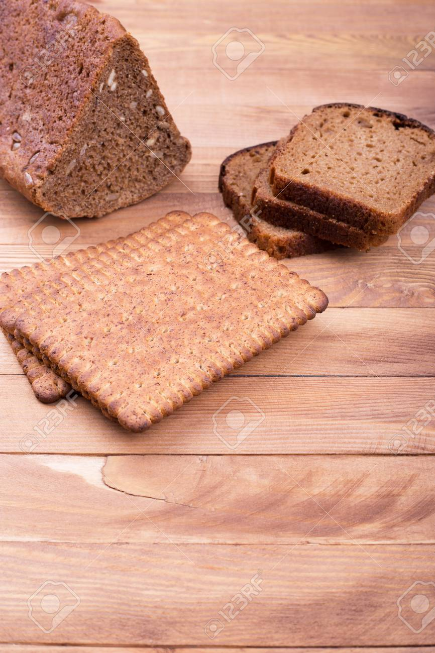 Bread And Place For Text Black Bread And Small Breadsticks Stock