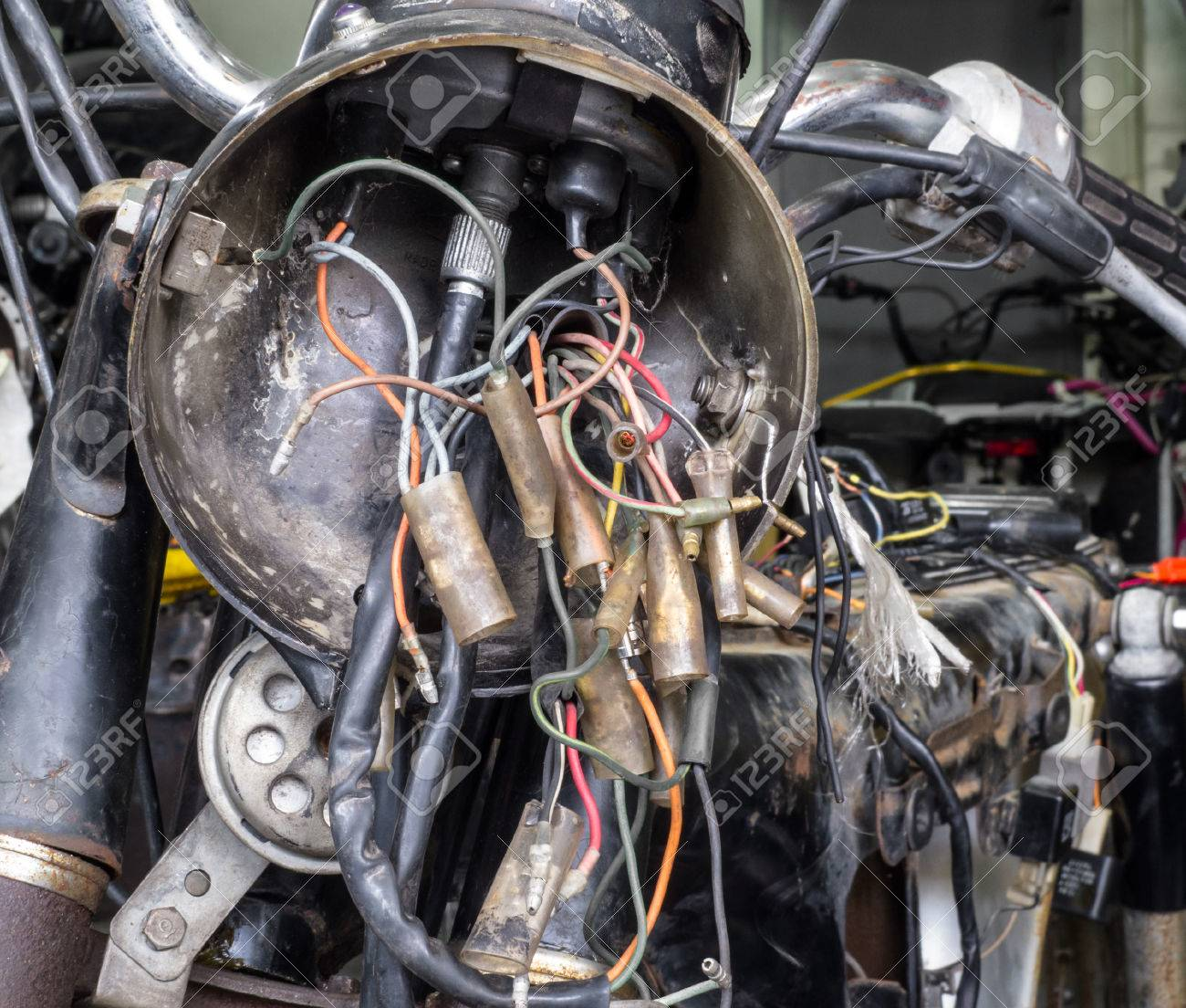hight resolution of electric wiring of an old motorcycle headlight stock photo 54063528