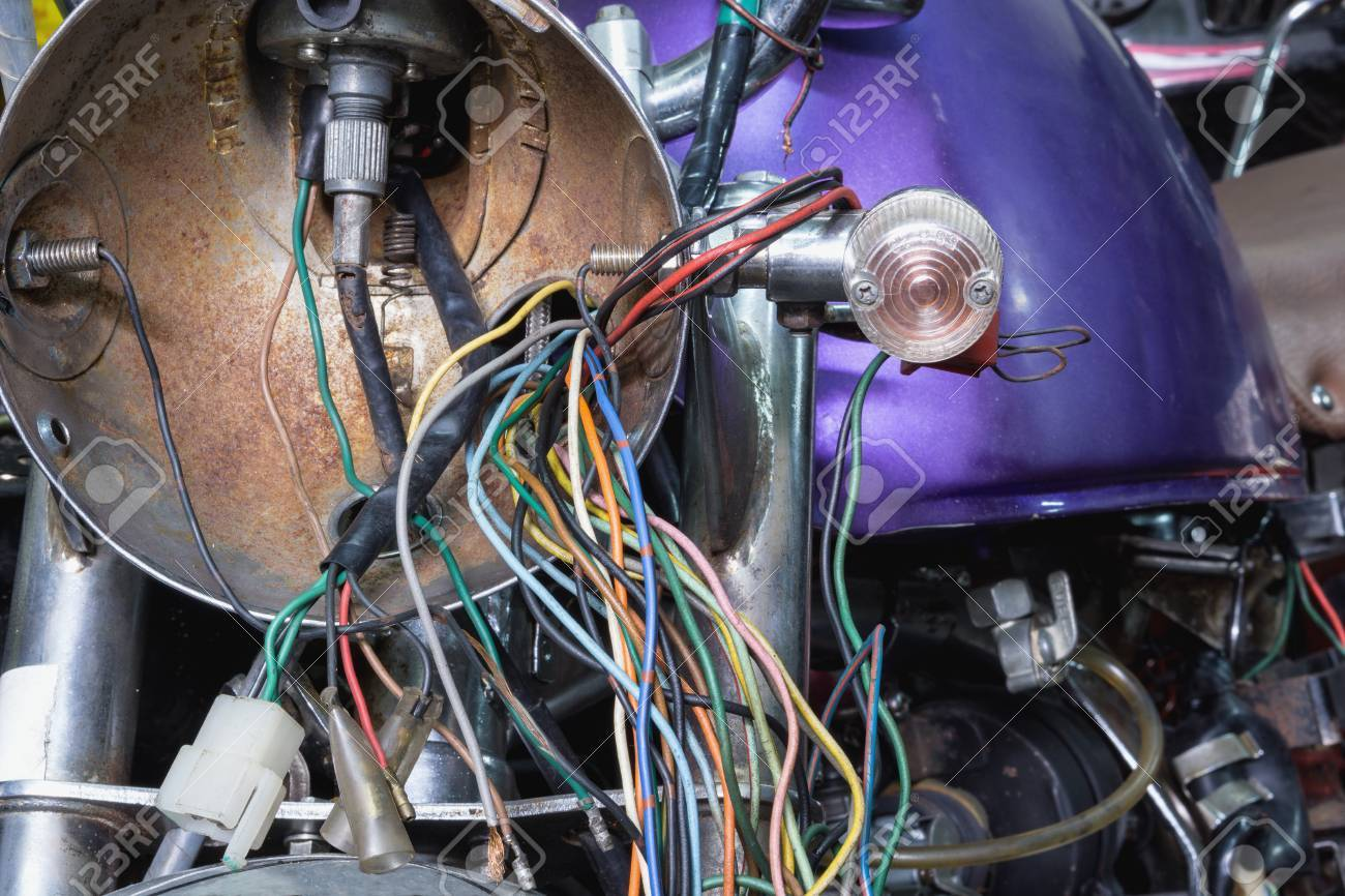 hight resolution of electric wiring of an old motorcycle headlight stock photo 66956349