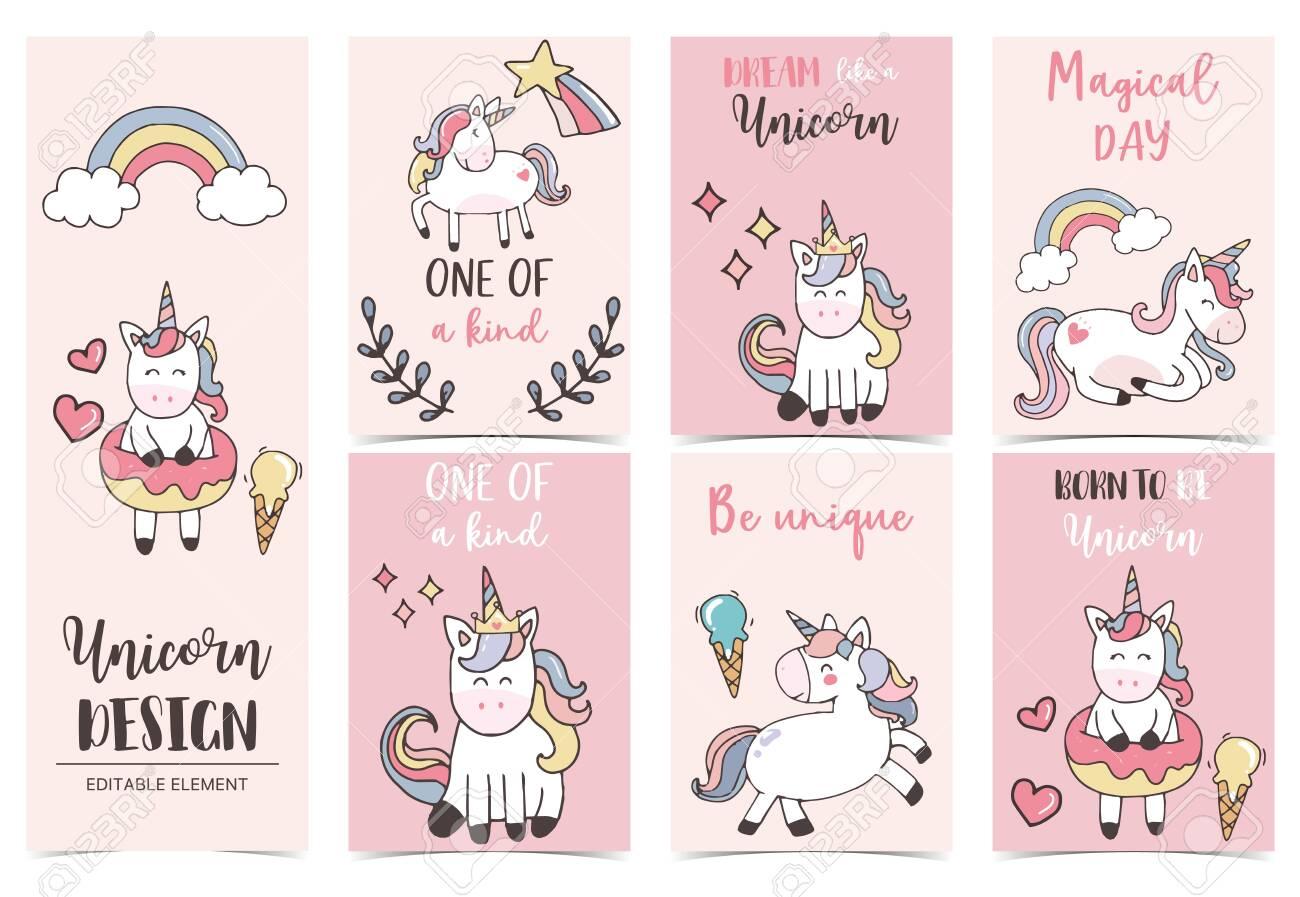 collection of unicorn background set with rainbow unicorn vector