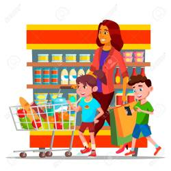 Mother With Children Shopping In Hypermarket Vector Characters Royalty Free Cliparts Vectors And Stock Illustration Image 123688881