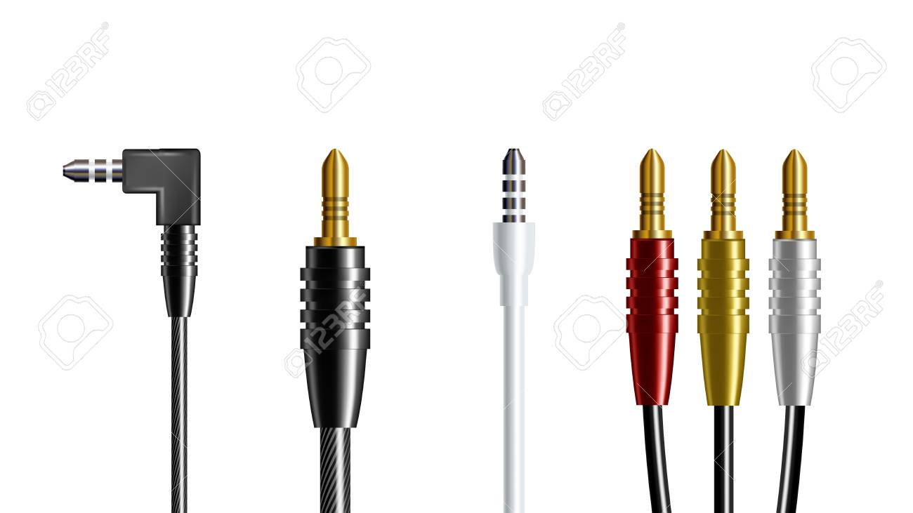 hight resolution of illustration realistic audio connector headphone plug adapter wire electronic speaker and headphone joint communicate smartphone top view isolated image