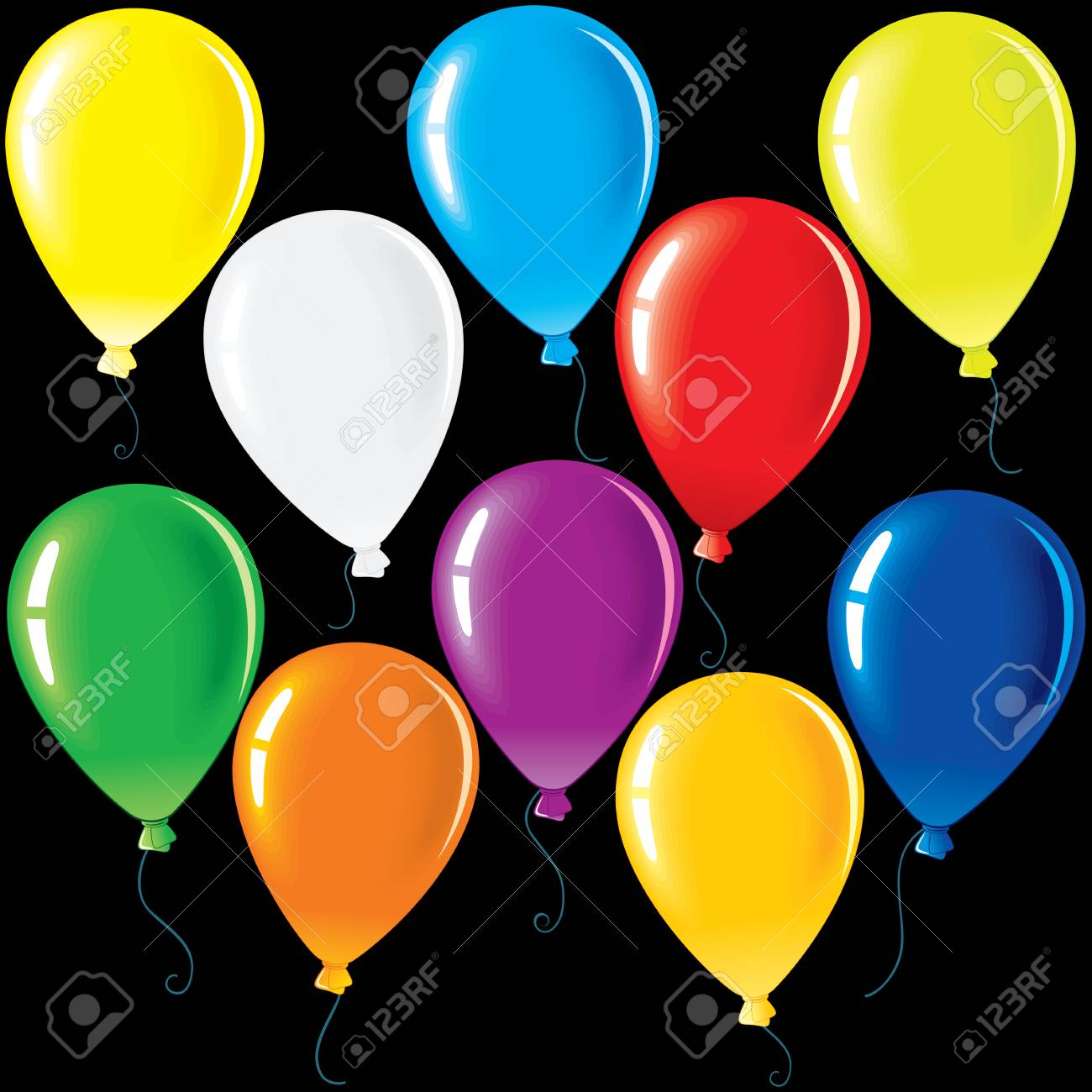 hight resolution of isolated colorful party balloons vector colorful clip art for your festive design stock vector