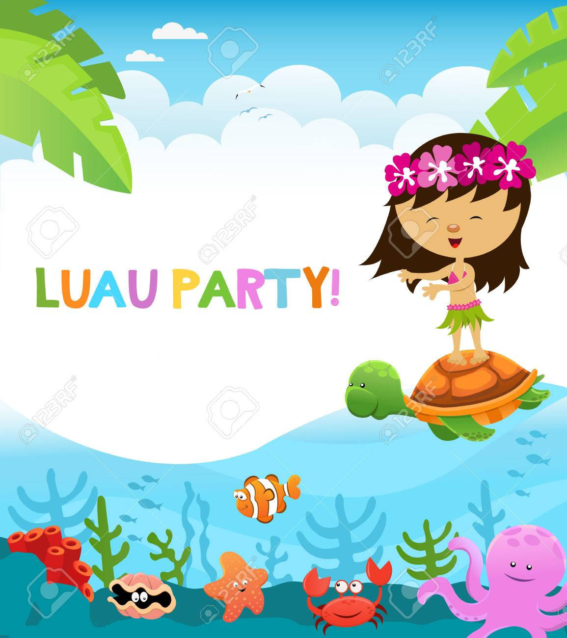 hight resolution of luau party stock vector 59356718