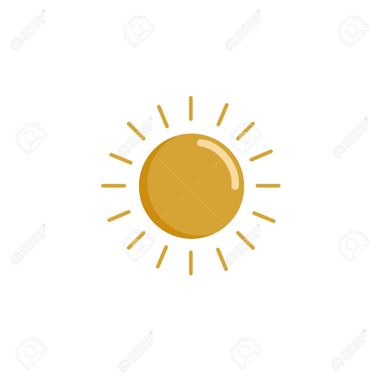 Simple Drawing Of The Sun. The Icon Of The Sun. Flat Design Is ...