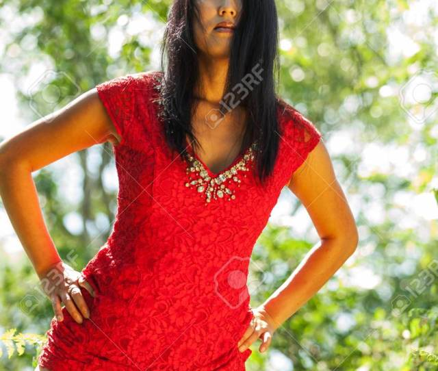 Mature Asian Woman With Red Dress Stock Photo 59668381
