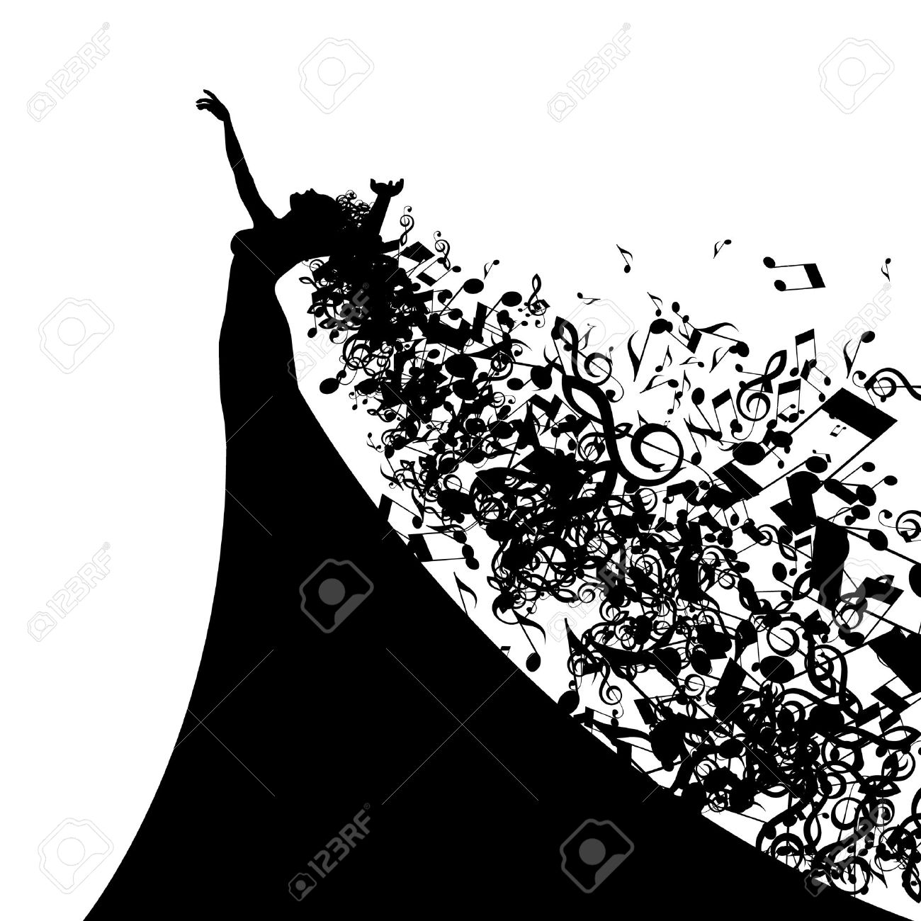 hight resolution of opera singer clipart black and white