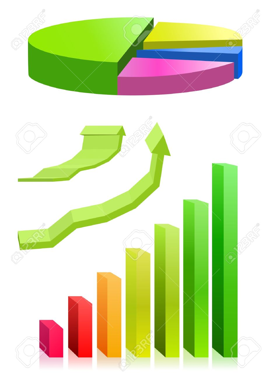 hight resolution of pie chart and bar graph stock vector 11889862