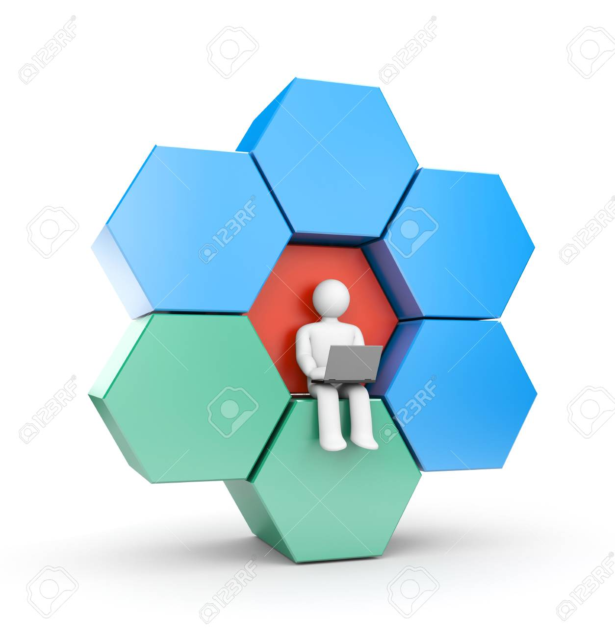 hight resolution of person working at the computer abstract figure which can be used as a design element
