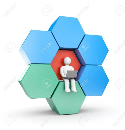 small resolution of person working at the computer abstract figure which can be used as a design element