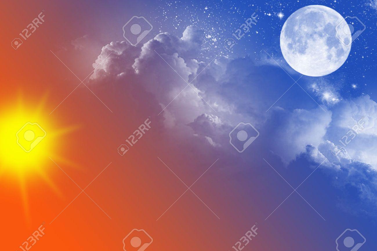sky with sun moon
