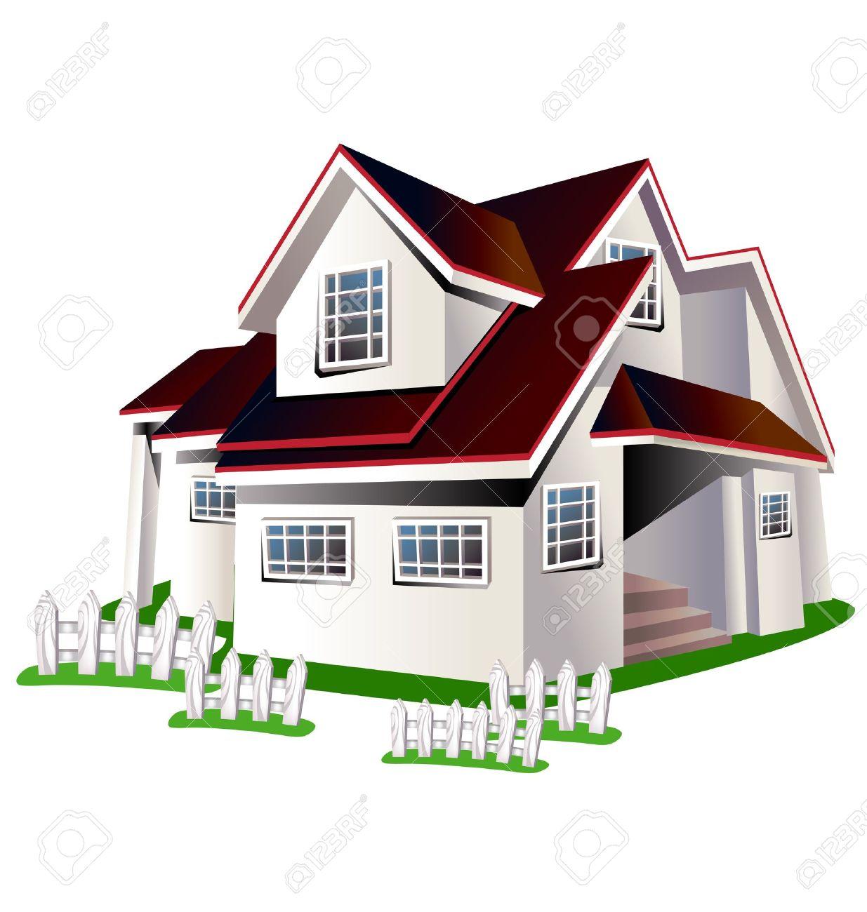 maison illustration de bande dessinee coloree sur un fond blanc