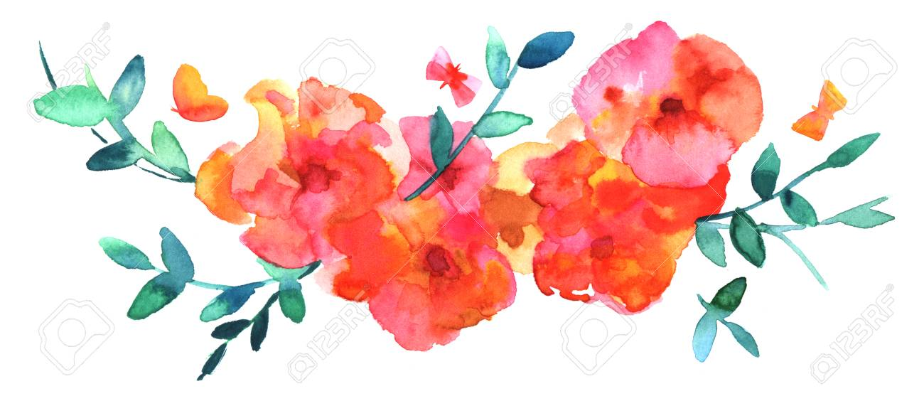 abstract watercolor flowers bouquet