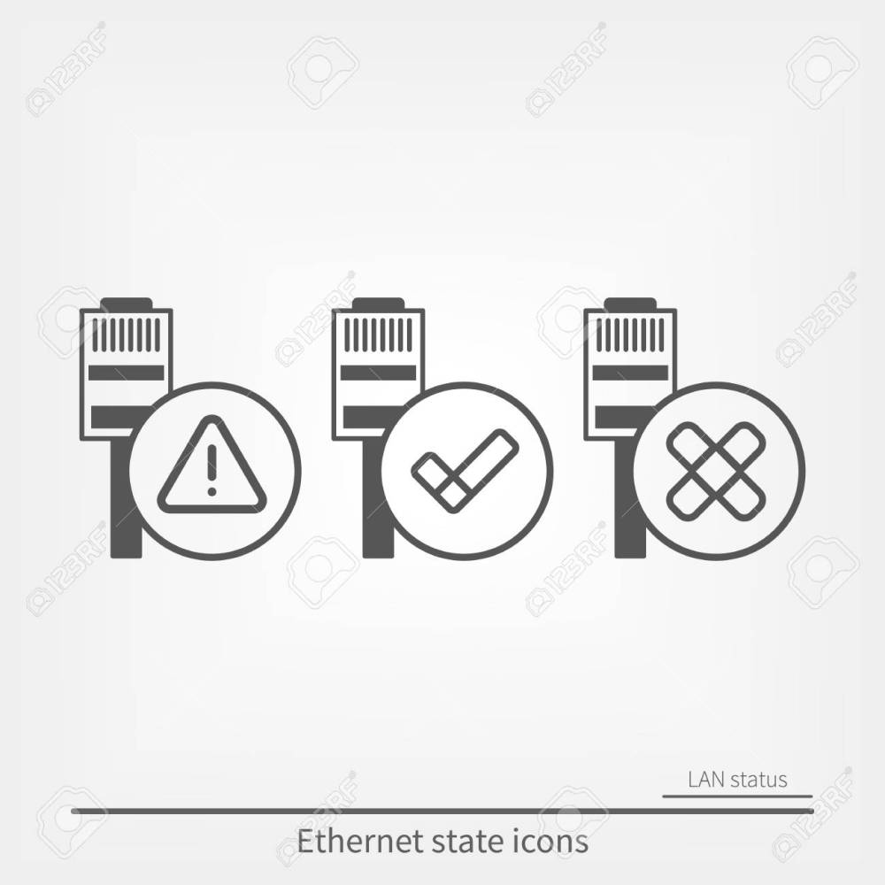 medium resolution of ethernet connection icons set stock vector 94585643