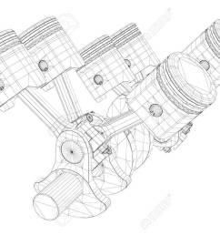 pistons v8 engine body structure wire model stock photo picture v8 engine piston diagram [ 1300 x 928 Pixel ]