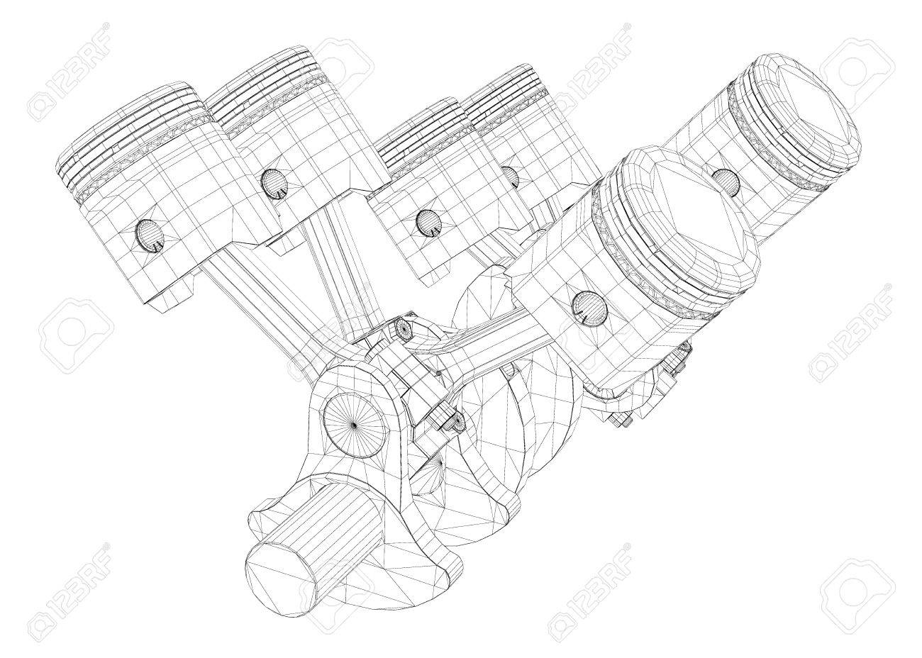 hight resolution of pistons v8 engine body structure wire model stock photo picture v8 engine piston diagram