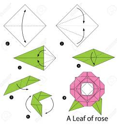 step by step instructions how to make origami a leaf of rose stock vector  [ 1300 x 1300 Pixel ]