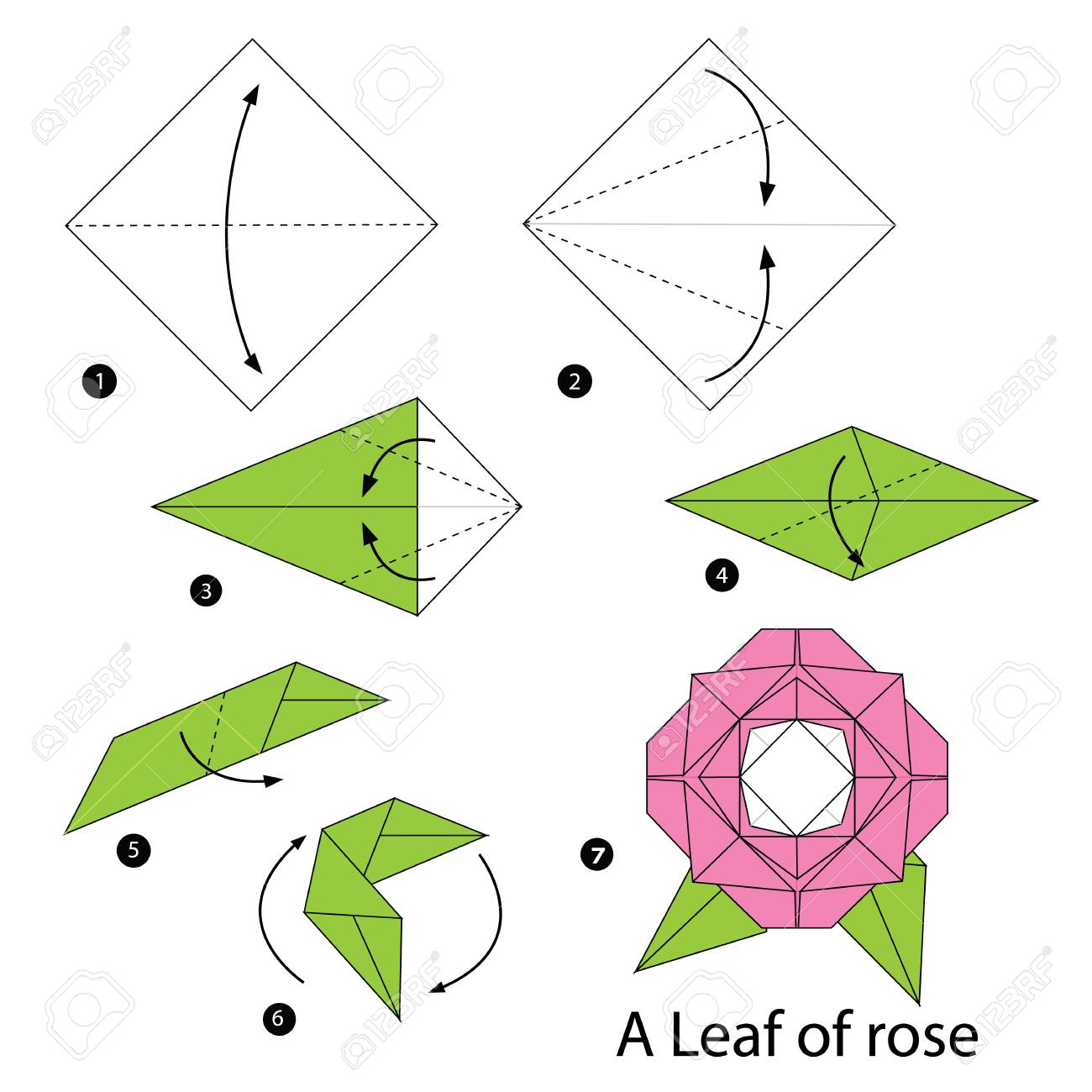 hight resolution of step by step instructions how to make origami a leaf of rose stock vector