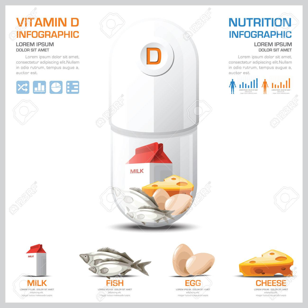 hight resolution of vector vitamin d chart diagram health and medical infographic design template