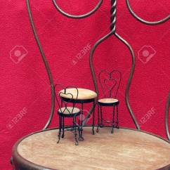 Ice Cream Table And Chairs Fishing Chair With Cooler Bag Miniature Sitting On Full Sized Before Red Background