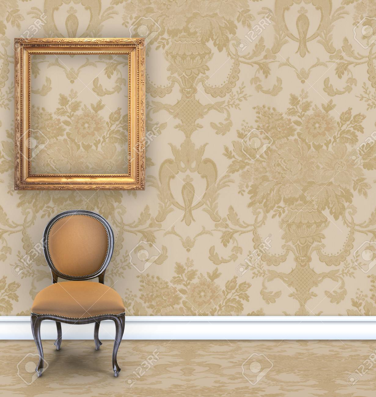 Damask Chair Room With Tan Damask Wallpaper A Velvet Chair And An Empty