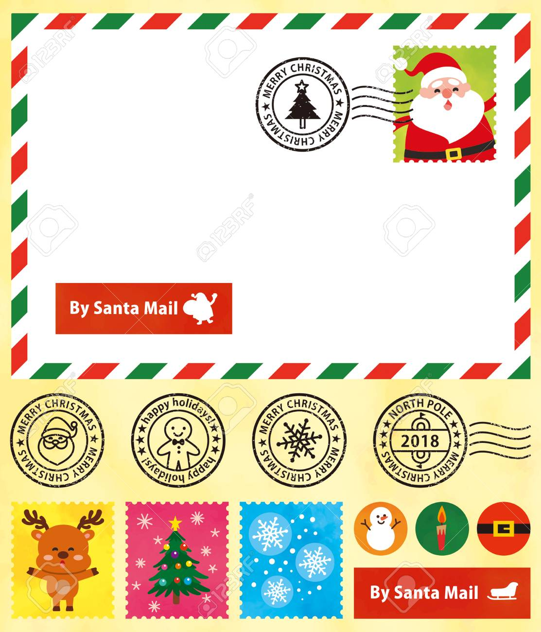 christmas postcard cute stamps