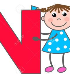 a girl with letter n stock vector 7633979 [ 1300 x 877 Pixel ]