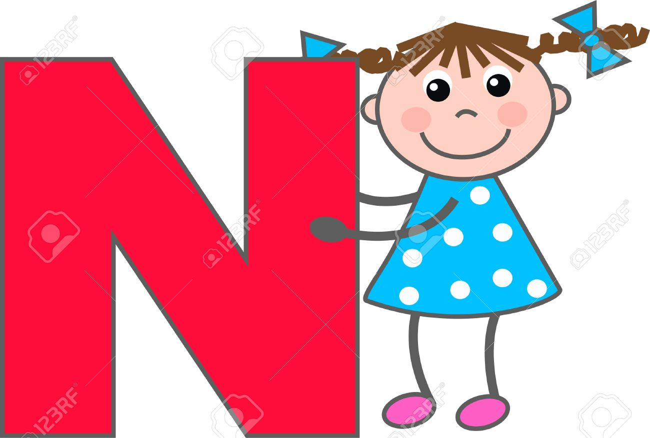 hight resolution of a girl with letter n stock vector 7633979