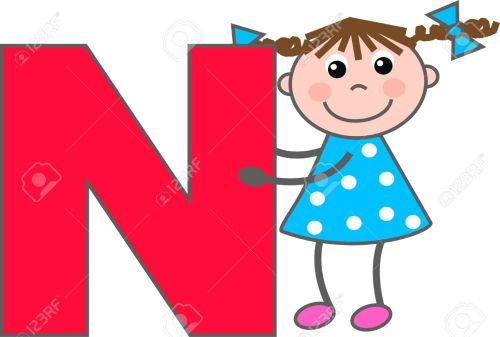 small resolution of a girl with letter n stock vector 7633979