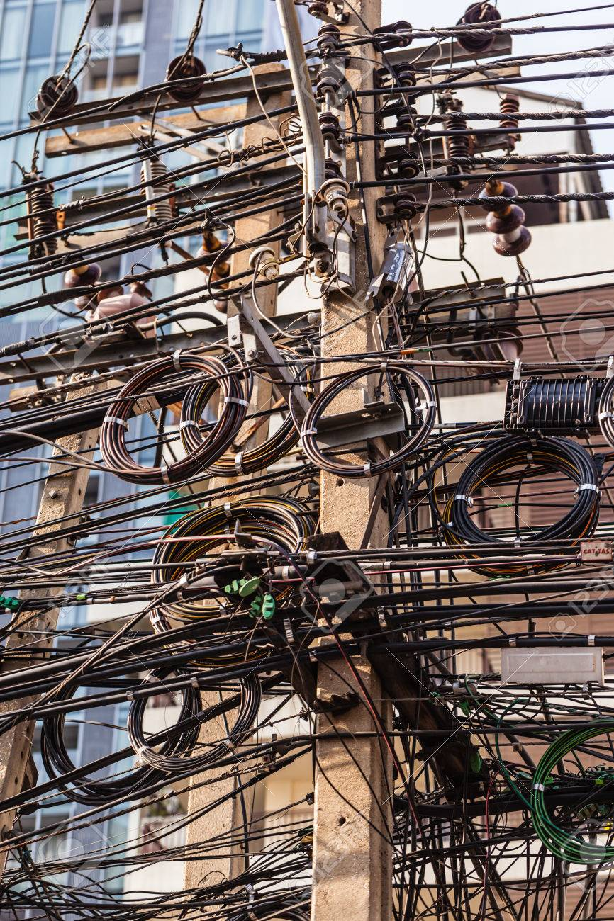 hight resolution of stock photo very messy electricity or telephone pole in bangkok thailand