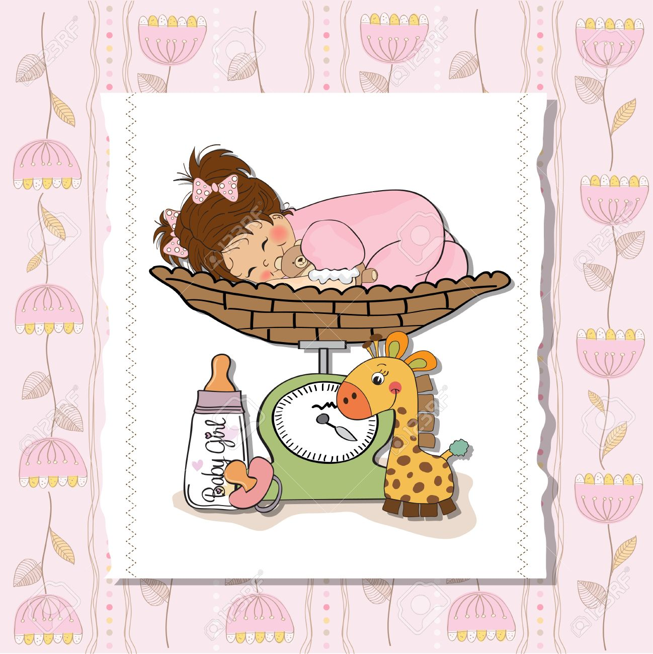 hight resolution of beautiful baby girl on on weighing scale stock vector 13747340