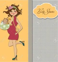 new baby announcement card with pregnant woman royalty free cliparts [ 1300 x 1299 Pixel ]