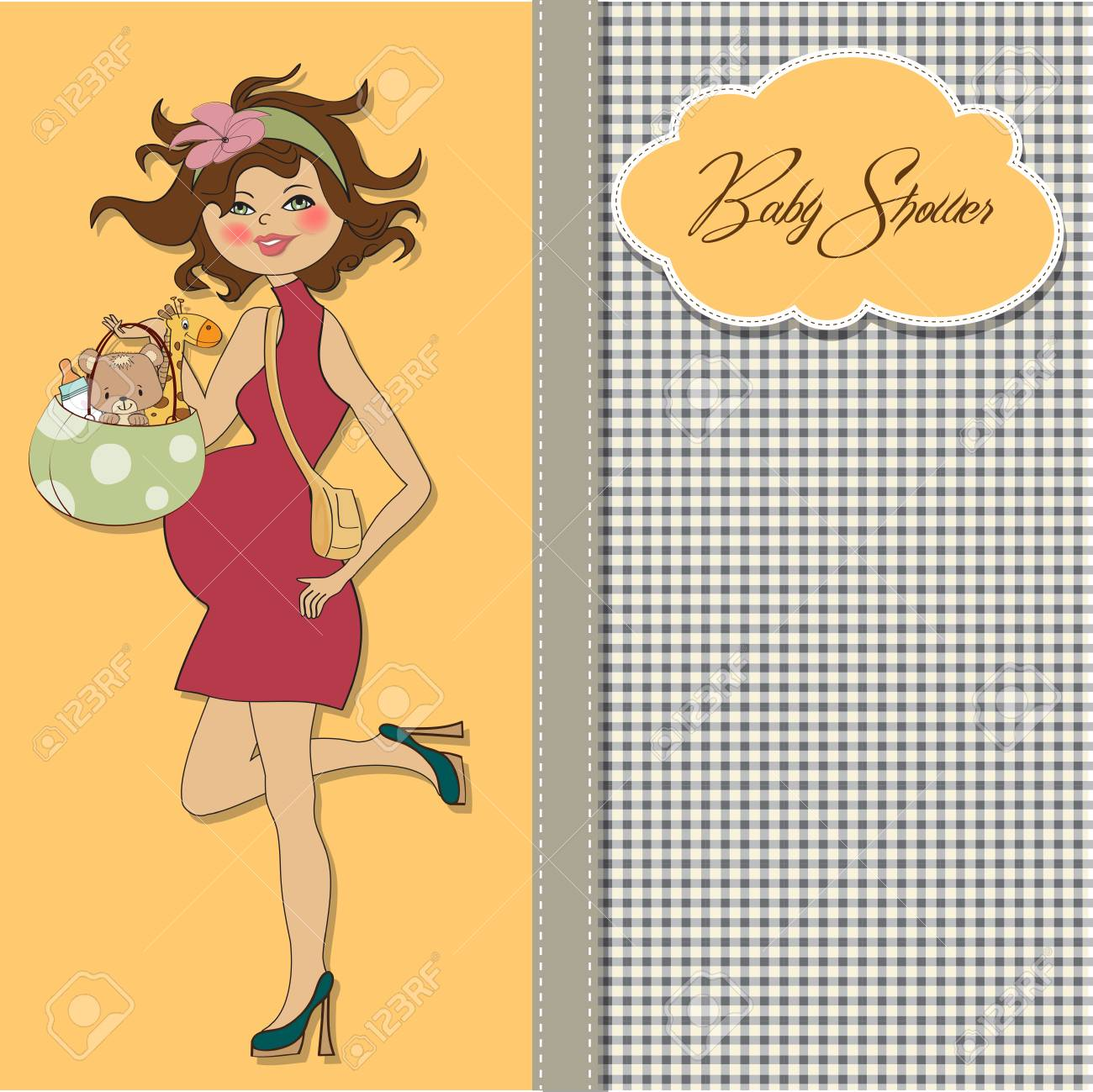 hight resolution of  new baby announcement card with pregnant woman royalty free cliparts