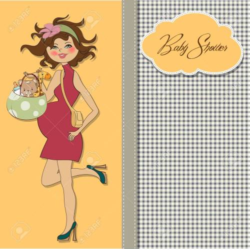 small resolution of  new baby announcement card with pregnant woman royalty free cliparts