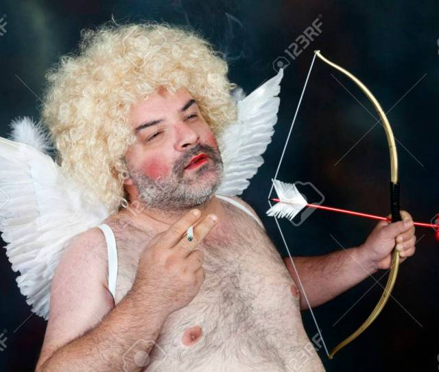 Fat Bearded Mature Hairy Cupid With Bow And Heart Arrow Smoking Stock Photo 35456824