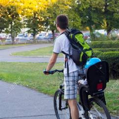The Bike Chair Covers For Sale Near Me Father And Son In Baby Bicycle Ride On Stock Photo 66283853