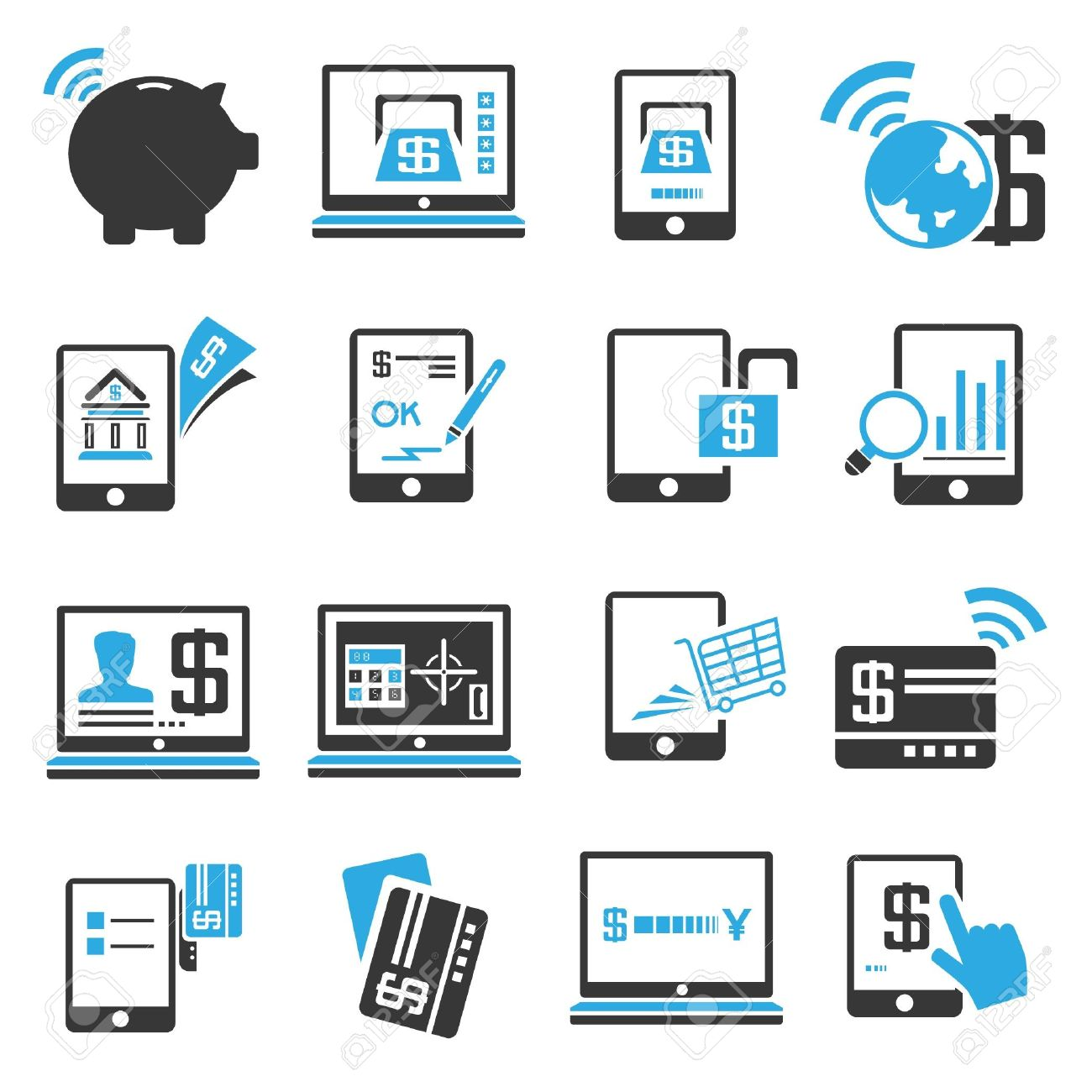 Internet Banking Icons Set Blue Theme Royalty Free Cliparts Vectors And Stock Illustration Image 21506617