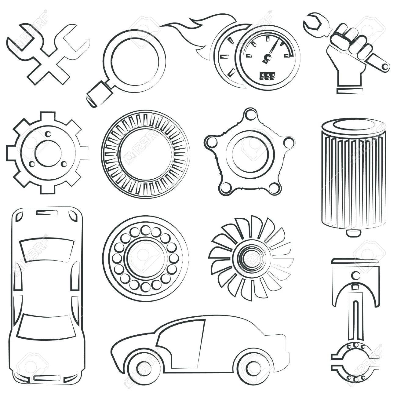 Sketched car parts set royalty free cliparts vectors and stock