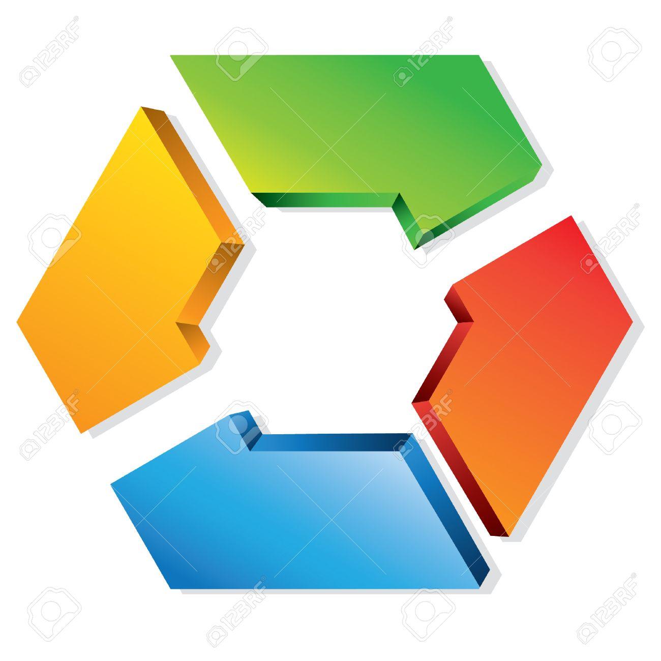hight resolution of business process flow presentation hexagon loop diagram stock vector 24468320