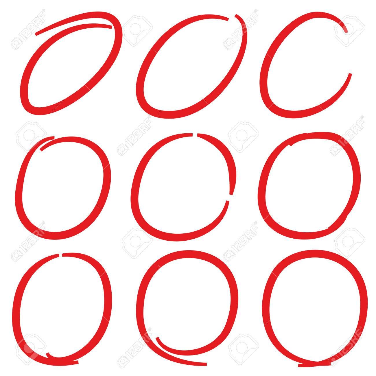 red hand drawn circle