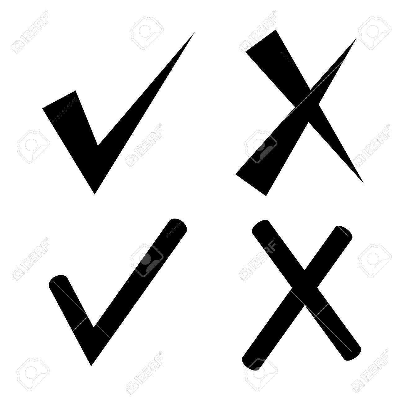 hight resolution of check mark and wrong mark stock vector 75182331